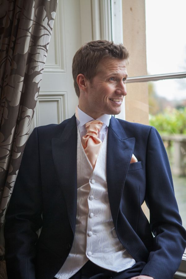 Navy Herringbone Wedding Suit Hire